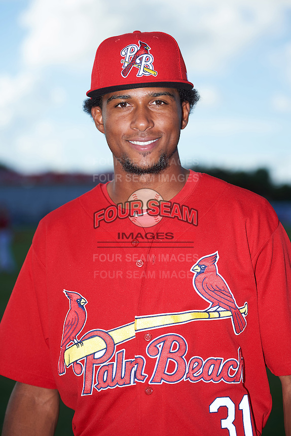 Palm Beach Cardinals pitcher Sandy Alcantara (31) poses for a photo before a game against the Jupiter Hammerheads  on August 12, 2016 at Roger Dean Stadium in Jupiter, Florida.  Jupiter defeated Palm Beach 9-0.  (Mike Janes/Four Seam Images)