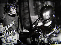 RoboCop (1987) <br /> Behind the scenes photo of Paul Verhoeven &amp; Peter Weller<br /> *Filmstill - Editorial Use Only*<br /> CAP/KFS<br /> Image supplied by Capital Pictures