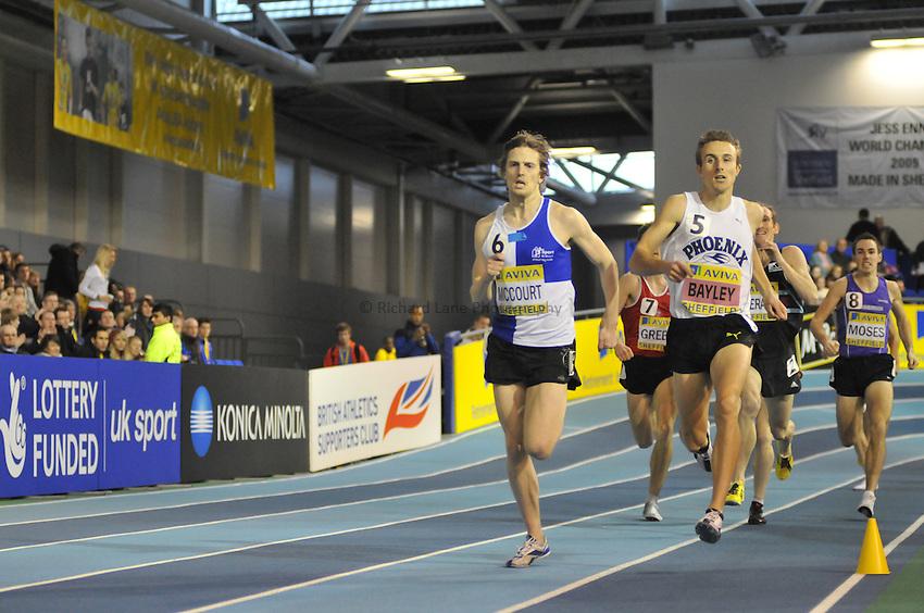 Photo: Tony Oudot/Richard Lane Photography. Aviva World Trials & UK Championships. 14/02/2010. .Mens 1500m Final, .Colin McCourt and Tim Bayley.