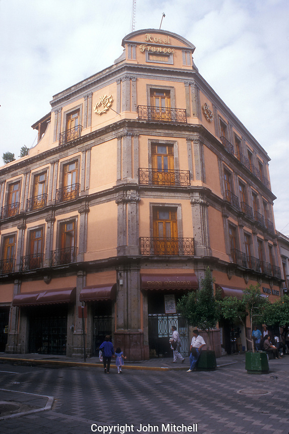 Exterior of the Hotel Frances in downtown Guadalajara, Jalisco, Mexico