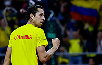 BOGOTA, COLOMBIA - MARCH 7: Daniel Galan of Colombia, celebrates after win a point to Juan Londero of Argentina during the game 4 of their Copa Davis 2020 in Bogota Colombia on March 7, 2020. (Photo by Leonardo Munoz/VIEWpress via Getty Images)