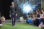 A model at the catwalk of the Dirk Bikkembergs fashion show as part of the Milan Fashion Week Men's wear Spring/Summer 2016, in Milan on June 19, 2015.