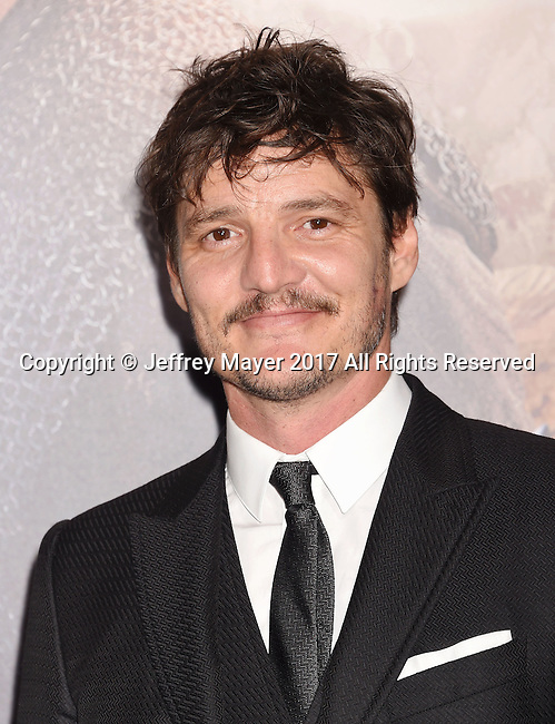 HOLLYWOOD, CA - FEBRUARY 15: Actor Pedro Pascal arrives at the premiere of Universal Pictures' 'The Great Wall' at TCL Chinese Theatre IMAX on February 15, 2017 in Hollywood, California.
