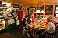 Diners enjoy a hearty breakfast at the Roadjouse, Talkeetna, AK, Alaska, USA