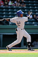 Designated hitter Randy Reyes (22) of the Asheville Tourists bats in a game against the Greenville Drive on Friday, April 24, 2015, at Fluor Field at the West End in Greenville, South Carolina. Greenville won, 5-2. (Tom Priddy/Four Seam Images)