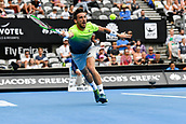 10th January 2018, Sydney Olympic Park Tennis Centre, Sydney, Australia; Sydney International Tennis, round 2; Damir Dzumhur (BIH) stretches for the ball in his match against Alex De Minaur (AUS)