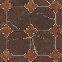 Greta, a stone water jet mosaic, shown in Aegean Brown and Rojo Alicante, is part of the Ann Sacks Beau Monde collection sold exclusively at www.annsacks.com
