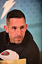 MIAMI, FL - JANUARY 27: San Francisco 49ers Head Coach Kyle Shanahan answers questions from the media during the NFL Super Bowl ( LIV)(54) Opening Night at Marlins Park on January 27, 2020  in Miami, Florida. ( Photo by Johnny Louis / jlnphotography.com )