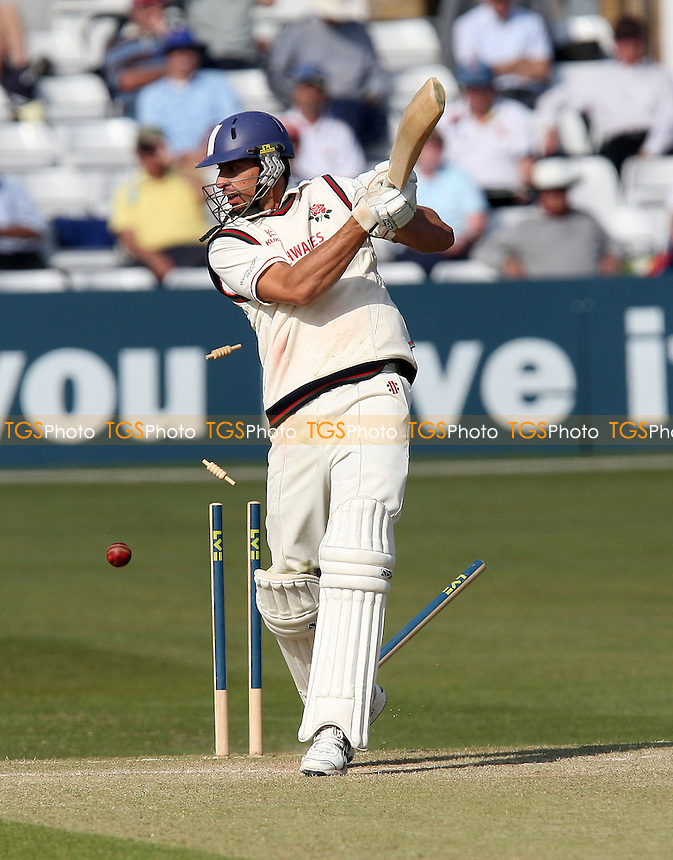 Sajid Mahmood of Lancashire is clean bowled by Chris Wright of Essex - Essex CCC vs Lancashire CCC - LV County Championship Division One Cricket at Ford County Ground, Chelmsford -  22/04/10 - MANDATORY CREDIT: Gavin Ellis/TGSPHOTO - Self billing applies where appropriate - Tel: 0845 094 6026