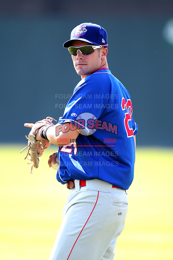 Auburn Doubledays outfielder Caleb Ramsey #29 before a game against the Batavia Muckdogs at Dwyer Stadium on July 17, 2011 in Batavia, New York.  Batavia defeated Auburn 8-3.  (Mike Janes/Four Seam Images)