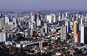 Curitiba, Brazil. Aerial view of city centre with high rise and low rise buildings.