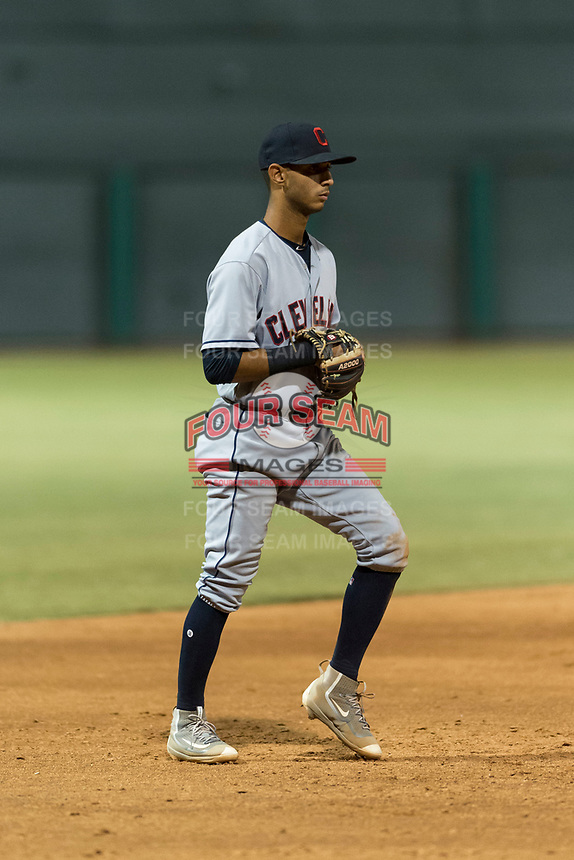 AZL Indians 2 third baseman Brayan Rocchio (24) during an Arizona League game against the AZL Cubs 2 at Sloan Park on August 2, 2018 in Mesa, Arizona. The AZL Indians 2 defeated the AZL Cubs 2 by a score of 9-8. (Zachary Lucy/Four Seam Images)