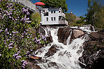The waterfall in Camden Harbor in Camden, ME, USA