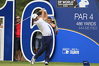 Patrick Reed (USA) on the 16th tee during the 3rd round of the DP World Tour Championship, Jumeirah Golf Estates, Dubai, United Arab Emirates. 17/11/2018<br /> Picture: Golffile | Fran Caffrey<br /> <br /> <br /> All photo usage must carry mandatory copyright credit (© Golffile | Fran Caffrey)