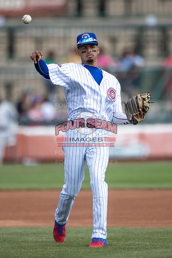 South Bend Cubs third baseman Christopher Morel (29) makes a throw to first base against the Lake County Captains on May 30, 2019 at Four Winds Field in South Bend, Indiana. The Captains defeated the Cubs 5-1.  (Andrew Woolley/Four Seam Images)