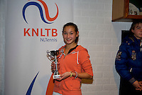 November 30, 2014, Almere, Tennis, Winter Youth Circuit, WJC,  Prizegiving, Roos van Reek, girls 14 years, 3 th place.<br /> Photo: Henk Koster