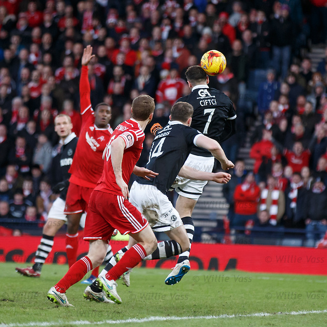 Nadir Ciftci heads the ball backwards to score for Dundee Utd