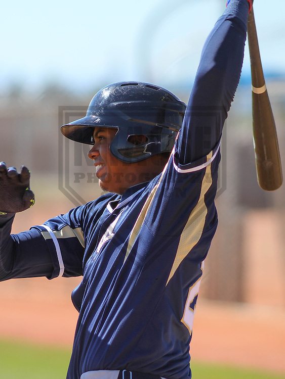MARYVALE - March 2015: Gilbert Lara (24) of the Milwaukee Brewers during a spring training game against the Langley Blaze on March 24th, 2015 at Maryvale Baseball Park in Maryvale, Arizona. (Photo Credit: Brad Krause)