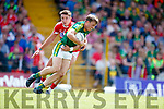 Donnchadh Walsh Kerry in action against Aidan Walsh Cork in the Munster Senior Football Final at Fitzgerald Stadium on Sunday.