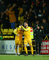 4th March 2020; Almondvale Stadium, Livingston, West Lothian, Scotland; Scottish Premiership Football, Livingston versus Celtic; Scott Robinson of Livingston celebrates with Scott Pittman of Livingston after he makes it 2-1 to Livingston in the 46th minute