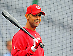 1 May 2011: Washington Nationals infielder Alex Cora awaits his turn in the batting cage prior to a game against the San Francisco Giants at Nationals Park in Washington, District of Columbia. The Nationals defeated the Giants 5-2. Mandatory Credit: Ed Wolfstein Photo