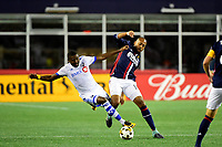 September 9, 2017 - Foxborough, Mass:Montreal Impact defender Chris Duvall (18) beats New England Revolution forward Teal Bunbury (10) for the ball during the MLS game between the Montreal Impact and the New England Revolution held at Gillette Stadium in Foxborough Massachusetts. Revolution defeat Impact 1-0. Eric Canha/CSM