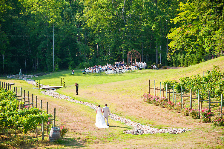 The gardens and vineyards of Potomac Point Vineyard and Winery (Stafford, VA) include attractive seating areas, a pavilion (not seen in this shot), and even a glade that seems ideal for a wedding.