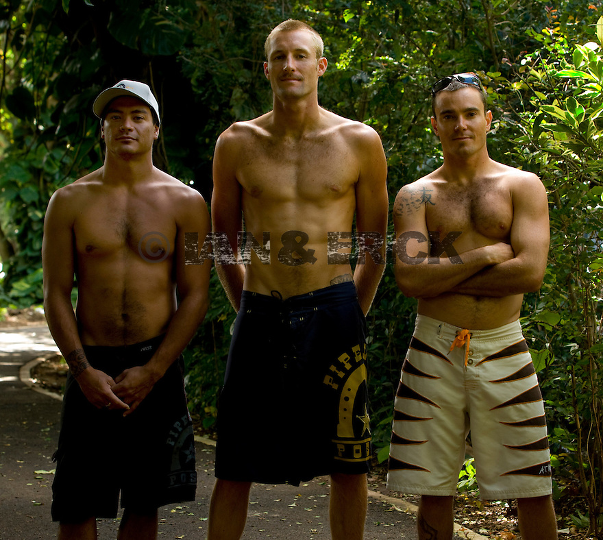 Hawaiians Braden Dias, Flynt Novak and Jmie Sterling on the Northshore of Hawaii.