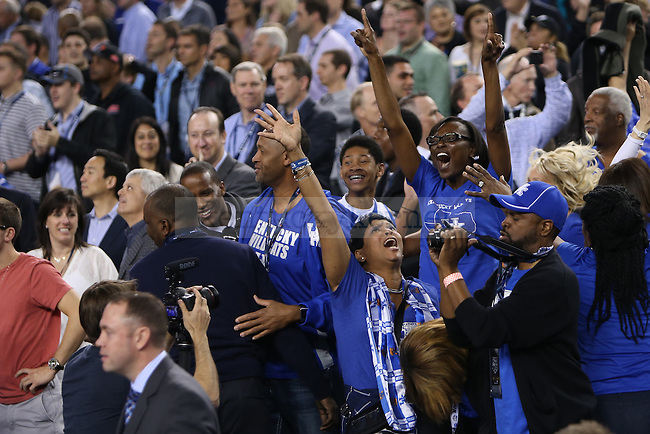The mothers of Julius Randle and Andrew and Aaron Harrison celebrate after UK defeated Wisconsin at the NCAA Final Four vs. Wisconsin at the AT&T in Arlington, Tx., on Saturday, April 5, 2014. Photo by Emily Wuetcher | Staff