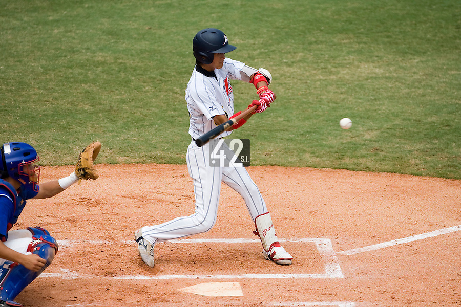 22 August 2007: Yamato Maeda is seen at bat during the Japan 9-4 victory over France in the Good Luck Beijing International baseball tournament (olympic test event) at west Beijng's Wukesong Baseball Field in Beijing, China.