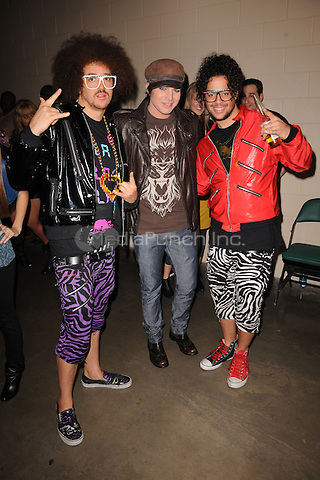 SUNRISE, FL - DECEMBER 12 :  LMFAO and Adam Lambert pose backstage at the Y-100 Jingle ball held at the Bank Atlantic center on December 12, 2009 in Fort Lauderdale Florida. Credit: mpi04/MediaPunch