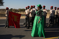 OTJIWARONGO, NAMBIA- AUGUST 12: Herero groups parading in traditional military uniforms during a march when commemorating fallen chiefs killed in battles with Germans. The area was the venue for decisive battles of the Herero uprisings in 1904.  The Herero accuse the German Empire of Genocide of its people from 1904-07. They are currently trying to make the German government compensate the descendants of the people killed. (Photo by Per-Anders Pettersson)