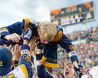 Oct. 20, 2012; Band members do pushups after Notre Dame's fourth quarter score...Photo by Matt Cashore.