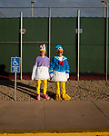 """Lucille Rogers, 85, and Linda Haugland, 63, stand in duck costumes to promote a Duck Race for charity outside of the Lakeview Recreation Center December 11, 2009. """"It's always a weekend here,"""" Ms Haugland said of Sun City. She is a second-generation Sun Citian, visiting her mother in Sun City is what made her decide to move there."""