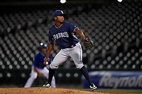AZL Padres 1 relief pitcher Edwuin Bencomo (37) during an Arizona League game against the AZL Cubs 1 on July 5, 2019 at Sloan Park in Mesa, Arizona. The AZL Cubs 1 defeated the AZL Padres 1 9-3. (Zachary Lucy/Four Seam Images)