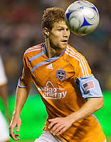 Houston Dynamo defender Andrew Hainault moves to the ball during the Western Conference Final. The LA Galaxy defeated the Houston Dynamo 2-1 to win the MLS Western Conference Final at Home Depot Center stadium in Carson, California on Friday November 13, 2009.....