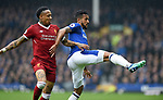 Theo Walcott of Everton is challenged by Nathaniel Clyne of Liverpool during the premier league match at Goodison Park Stadium, Liverpool. Picture date 7th April 2018. Picture credit should read: Robin Parker/Sportimage