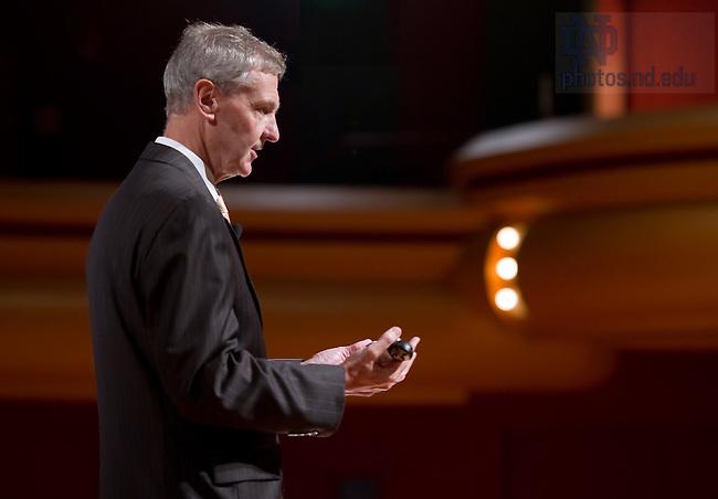 Sept. 21, 2011; John Affleck-Graves speaks at one of the 2011 Town Hall Meetings...Photo by Matt Cashore/University of Notre Dame