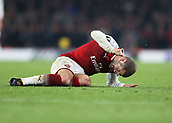 2nd November 2017, Emirates Stadium, London, England; UEFA Europa League group stage, Arsenal versus Red Star Belgrade; Jack Wilshere of Arsenal punching the pitch in frustration after not being awarded a free kick during the 2nd half