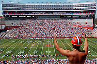 University of Florida student and football fan Zach Wilcox reacts to a play during the annual Orange and Blue Spring football game at Ben Hill Griffin Stadium in Gainesville, Fl. (Rick Wilson/The Florida Times-Union)