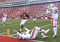 Arkansas Democrat-Gazette/BENJAMIN KRAIN --10/24/2015--<br /> Arkansas tight end Jeremy Sprinkle (83) catches a pass in the end zone for a 2 point conversion in the 3OT during the Razorbacks 54-46 victory over Auburn.