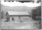 Ute Park depot is seen from trackside.  Station agent and wife posed by door and three young children riding a very a patient mule across tracks.  Water tank and coal cars are to right.<br /> St. Louis, Rocky Mountain &amp; Pacific Ry.  Ute Park, NM  Taken by Troutman, Edward A. - ca 1909-1913