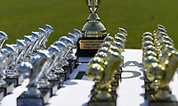 20190422 - Denderleeuw , BELGIUM : illustration picture shows the cups - Jella Lauwens Cup during the Under 13 final of Belgian cup 2019 , a soccer women game between KRC Genk Ladies and The West Flames Club Brugge  , in the  Van Roystadion in Denderleeuw , Monday 22 th April 2019 . PHOTO SPORTPIX.BE | DAVID CATRY