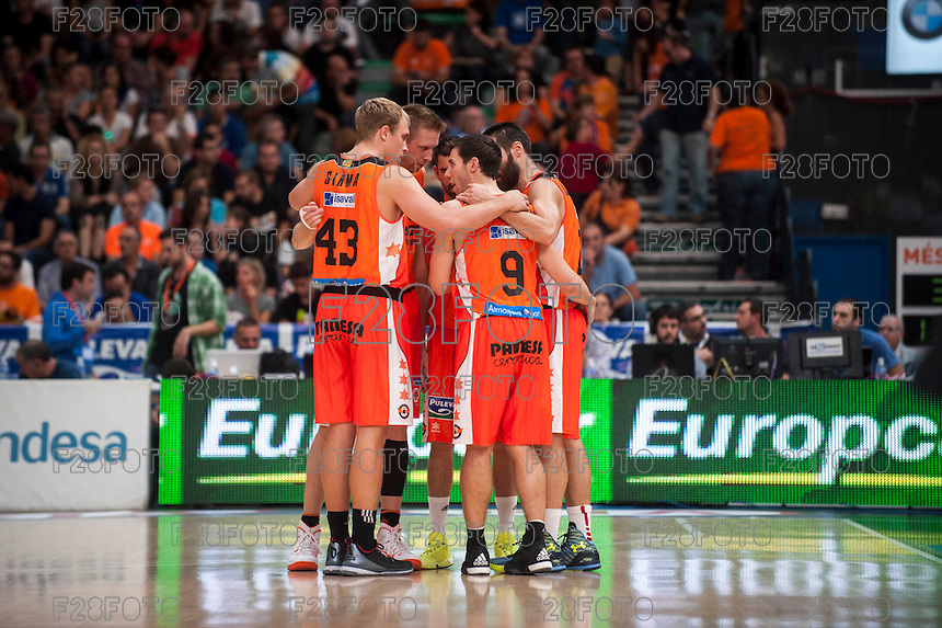 VALENCIA, SPAIN - OCTOBER 18: Sikma, Sam Van Brossom, Rafa Martinez and San Emeterio during ENDESA LEAGUE match between Valencia Basket Club and FIATC Joventut at Fonteta Stadium on October 18, 2015 in Valencia, Spain