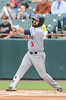 Bowie, MD - May 21, 2017: Binghamton Rumble Ponies shortstop Luis Guillorme (3) hits a fly ball during the MiLB game between Binghamton and Bowie at  Baysox Stadium in Bowie, MD.  (Photo by Elliott Brown/Media Images International)