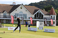 Matt Roberts from Wales on the 11th tee during Round 2 Singles of the Men's Home Internationals 2018 at Conwy Golf Club, Conwy, Wales on Thursday 13th September 2018.<br /> Picture: Thos Caffrey / Golffile<br /> <br /> All photo usage must carry mandatory copyright credit (&copy; Golffile | Thos Caffrey)