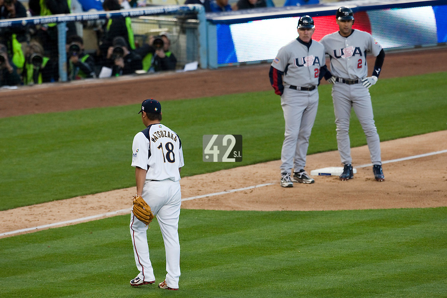 22 March 2009: #18 Daisuke Matsuzaka of Japan walks back to the dugout after being relieved during the 2009 World Baseball Classic semifinal game at Dodger Stadium in Los Angeles, California, USA. Japan wins 9-4 over Team USA.