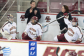 Megan Miller (BC - 32), Kaliya Johnson (BC - 6), Jackie Young (BC - 25) - The Boston College Eagles celebrate winning the 2014 Beanpot championship on Tuesday, February 11, 2014, at Kelley Rink in Conte Forum in Chestnut Hill, Massachusetts.