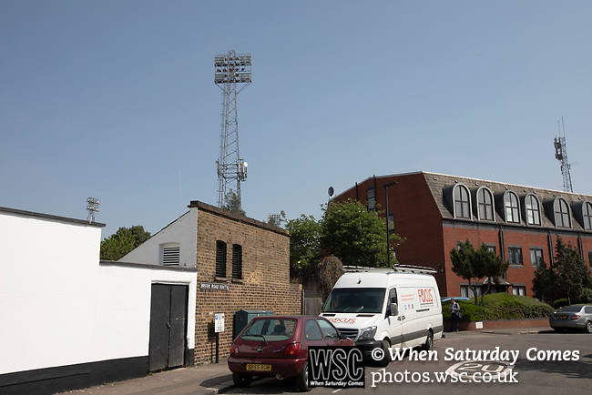 An exterior view of the ground from Brook Road pictured before Brentford hosted Leeds United in an EFL Championship match at Griffin Park. Formed in 1889, Brentford have played their home games at Griffin Park since 1904, but are moving to a new purpose-built stadium nearby. The home team won this match by 2-0 watched by a crowd of 11,580.