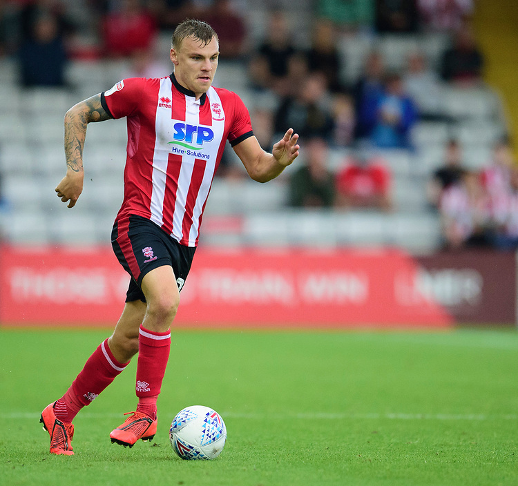 Lincoln City's Harry Anderson<br /> <br /> Photographer Andrew Vaughan/CameraSport<br /> <br /> The EFL Sky Bet League One - Lincoln City v Fleetwood Town - Saturday 31st August 2019 - Sincil Bank - Lincoln<br /> <br /> World Copyright © 2019 CameraSport. All rights reserved. 43 Linden Ave. Countesthorpe. Leicester. England. LE8 5PG - Tel: +44 (0) 116 277 4147 - admin@camerasport.com - www.camerasport.com